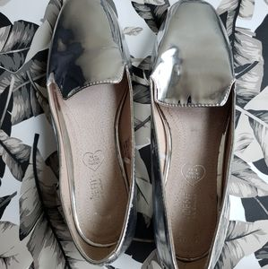 Metallic Gray Mirrored Loafers